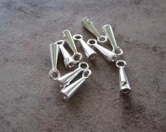 10 Cord end, silver-plated brass, 8x3mm smooth cone with loop, 1mm inside diameter. JD155