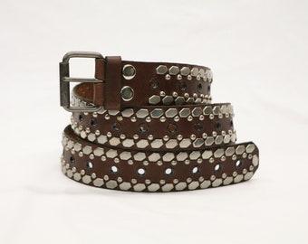 Pewter/Black Hexagon/Eyelet Studded Brown Leather Belt