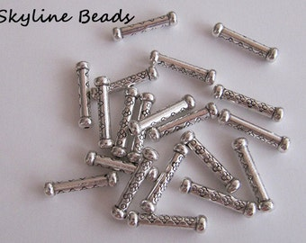 Tube Shape Metal Beads - Tibetan Style, Antique Silver, 22mm x 5.5mm