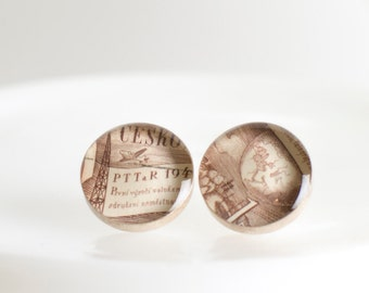 Button earrings | Postage stamp | Czechoslovakia | Brown | Post