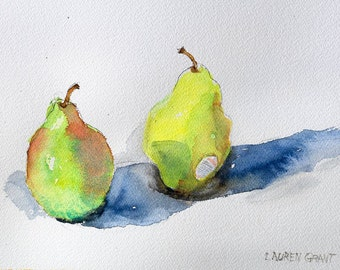 """Still life fruit painting, pears, kitchen art, original watercolor on Arches watercolor paper 9"""" x 12"""" Green Pears"""