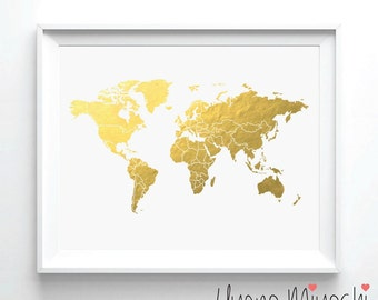 Dinosaur world map iv gold foil print gold print map custom world map ii gold foil print gold print map custom print in gold gumiabroncs Gallery