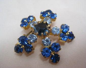 Blue Flower Brooch Gold Rhinestone Vintage Pin