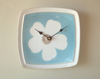 Blue and Cream Flower Wall Clock 8 Inches Square, Ceramic Plate Clock, Cute Whimsical Flower Clock, Flower Nursery Decor - 2321