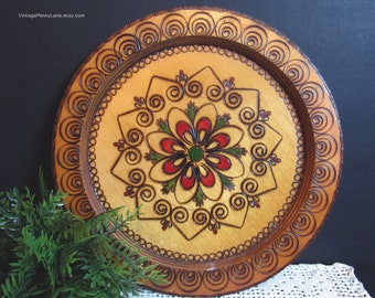 Vintage Carved / Painted Wood Plate / Wall Art, Polish Folk Art, 10 Inch