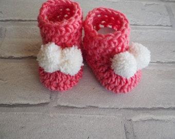 pink baby booties, pom pom booties, crochet baby booties, Ugg booties, baby boots, photo prop, baby shower gift, new baby gift.
