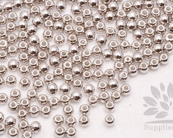 MB035-01-S// Rhodim Plated 3mm Round Metal Bead, 20pcs