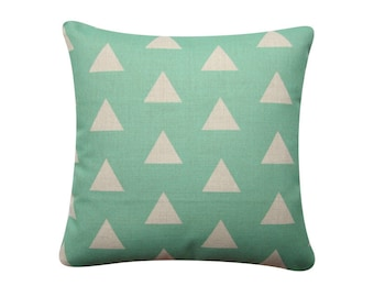 "Geometric Triangles Pillow Cover, Mint Triangle Pillow, 18""x 18"" Nursery Decorative Pillow, Geometric Cushion, Kids Baby Cushion 372"