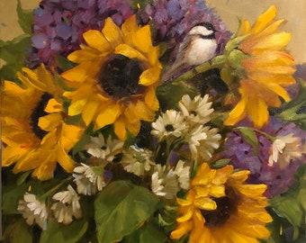 "Chickadee & Sunflowers, 18"" x 18"", oil on canvas, spring, blossoms, anniversary , birds, original, Krista Eaton"