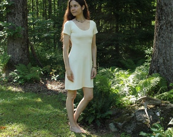 short sleeve hemp dress - 100% hemp and organic cotton - custom made order
