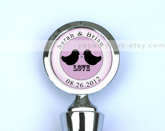 Unique Wedding Gift, Wedding Wine Stopper,Personalized Wine Stopper -  Two love birds Tie the knot silhouette, custom names, date, color