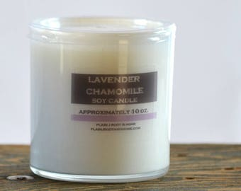 Lavender Chamomile Soy Candle White Glass Tumbler 10oz - lavender soy candle - chamomile soy candle - relaxing soy candle - spa soy candle