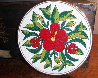 Vintage Hand Made Rodos Greece Ceramic Plate Wall Hanging Kitchen Art Red Green