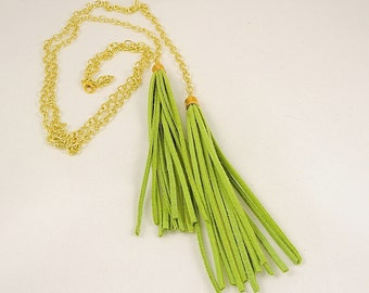 Long green suede tassel lariat necklace on gold filled chain
