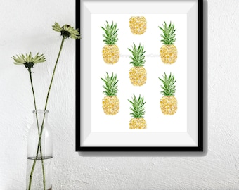 Pineapples  Art Print, kitchen art, pineapple watercolor, All over pineapples, tropical art, Yellow Green, botanical art,  fruits art,