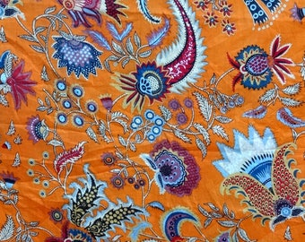fabric, cotton orange multicolored, large PAISLEY collection.