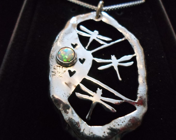 Large melted dragonfly necklace w/6mm created opal w/sterling silver chain