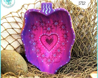 Painted Heart Wood Bowl, Original Art, *pink, purple, light blue* #1712