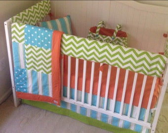 Baby Boy Crib Sets Baby Bedding Navy Blue Orange White Modern