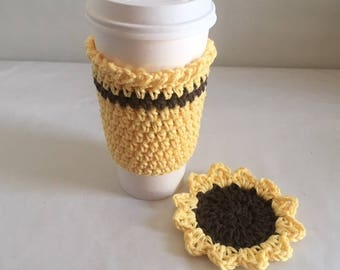 Sunflower Travel Mug Cozy Coaster Set Crochet Yellow Coffee Lovers Gift Set Made to Order