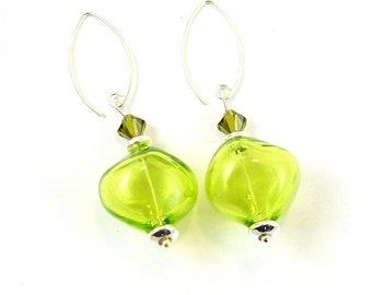 Lime Green Venetian Blown Glass Sterling Silver Earrings
