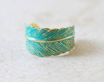 Feather Ring, Blue Patina Verdigris Brass Feather Adjustable Ring, Feather Jewelry, Boho Chic Bohemian Feather Wrap ring, Valentine's Gift