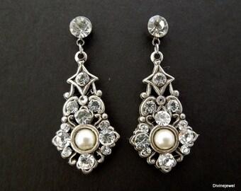 swarovski crystal pearl earrings chandelier earrings bridesmaid earrings dangle earrings bridal rhinestone earrings wedding earrings  MAE