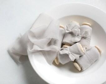 Silk ribbon, hand-dyed, soft Grey 100% pure silk Georgette ribbon