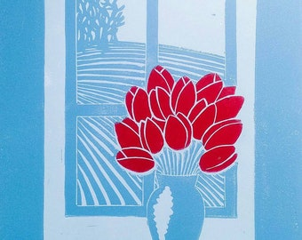 Sylvia's Tulips Floral Landscape Linocut Print Inspired by Sylvia Plath Poetry