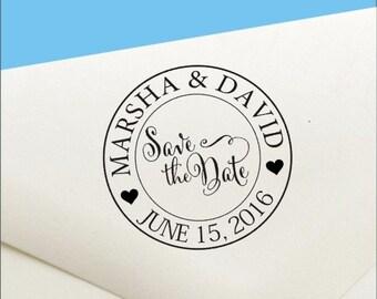 Custom Pre Inked Save The Date Stamp - Wedding Stamp - Custom Wedding Stamp - Pre Inked Stamp - Round Stamp - Pre Inked Save the Date Stamp
