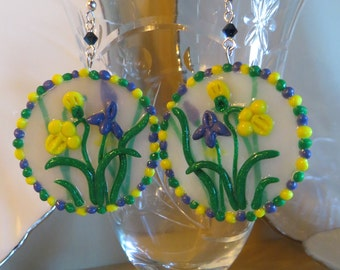 New for Spring Irises and Daffodils! Translucent Polymer Clay Earrings with Sculptured Flowers.