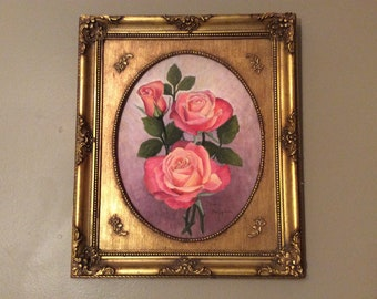 Original Oil Painting~Framed Oil Painting~Pink Roses in Gold Frame~Rose Still Life~Floral Oil Painting