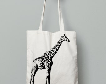 Giraffe tote bag, animal tote bag, canvas tote bag