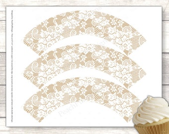 Lace cupcake wrapper (INSTANT DOWNLOAD) - Lace cupcake holder - Wedding cupcake wrappers - Burlap cupcake wrapper