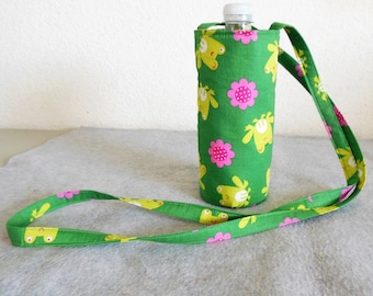Insulated Water Bottle Carrier - Frogs and Flowers