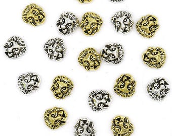 2 beads Lion 12 mm hole 2 mm can choose colors