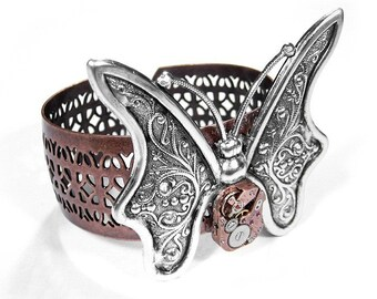 Steampunk Jewelry Cuff Rose Gold Watch Butterfly Cuff Bracelet in VIVA La MODA Magazine Mothers Girlfriend Mothers Day Gift - by edmdesigns