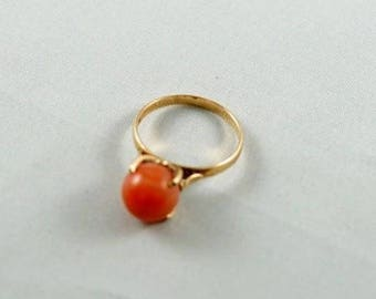 Natural Coral Ring with 14k Gold