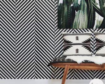 Scandi Boho Style Removable Wallpaper / Herringbone Pattern Traditional or Self adhesive Wallpaper