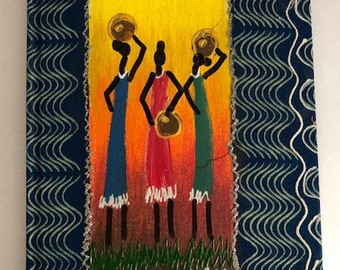 African Fabric Hand Painted Notebook