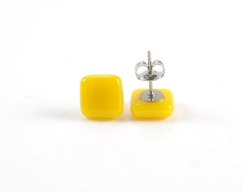 Sunflower yellow square stud post earrings, fused glass with surgical steel earring posts