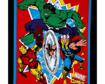 Marvel Retro Comics Panel Minky Blanket