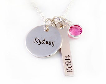 New Mom Necklace - Gift for New Mom - New Mommy Jewelry - New Mommy - Handstamped Sterling Silver