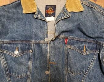 Vintage Jean Jacket with Corduroy Colar Women's Size L