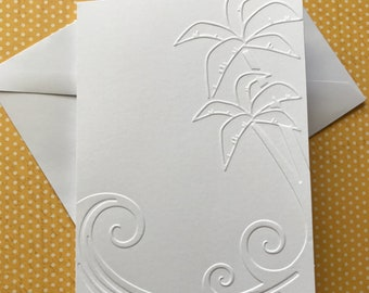 Palm Tree Card  Set, White Embossed Cards, Stationery Set, Beach Note Card, Greeting Card Set, Blank Note Cards Set and Envelopes