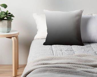 White Black Gray Ombre Pillow, White Black Throw Pillow, White Gray Black Bedding, Gray Toss Pillow, Gray Room, Gray White Black Cushion