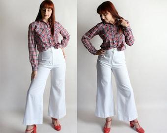 "Vintage Wide Leg Pants - White High Waist Palazzo Style Pants - 1970s Fashion Trousers - Medium Small 26"" Waist"