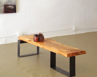 live edge coffee table from urban salvage wood and high recycled content steel - north   west table - modern industrial natural edge
