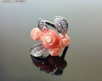 925 Sterling Silver Ring Bouquet of Genuine Coral Roses Exclusive Design SZ 8.5
