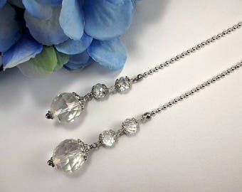Set of Two, Clear Crystal Ceiling Fan Pulls, Crystal Light Pulls, Beaded Fan Pulls, Ball Chain Pull, Lamp Pull, Ball Chain Pull, Silver Pull